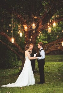 décoration pour un mariage éclairage extérieur